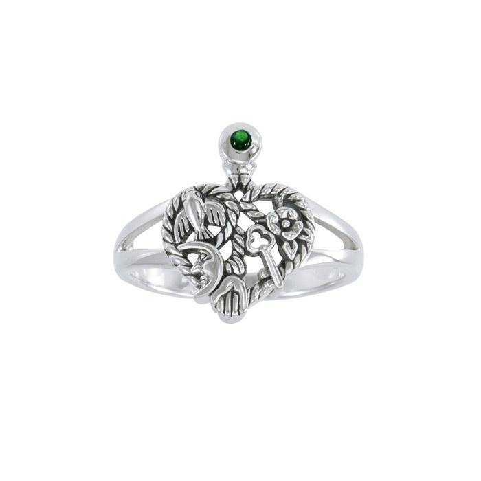 Cimaruta Witch, an iconic wander ~ Sterling Silver Ring with Gemstone TRI1579