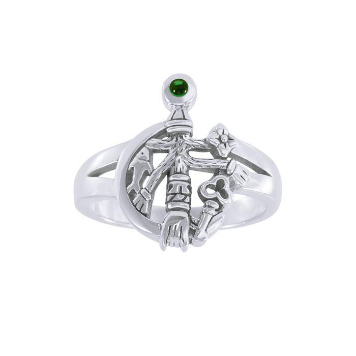 Wear your symbol of strength ~ Cimaruta Witch Sterling Silver Ring with Gemstone TRI1580