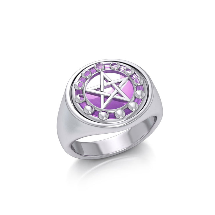 Pentacle with Moon Phase Flip Ring TRI160 Ring