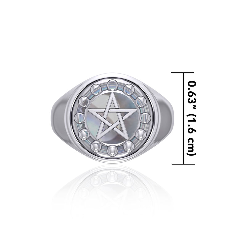 Pentacle with Moon Phase Flip Ring TRI160