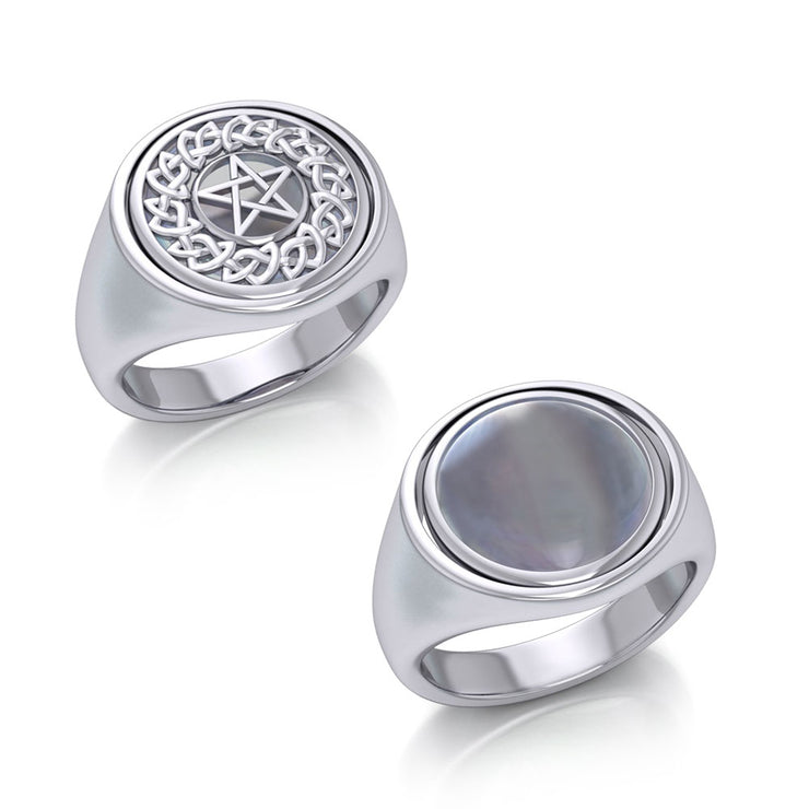 Silver Celtic Pentagram Pentacle Flip Ring TRI161