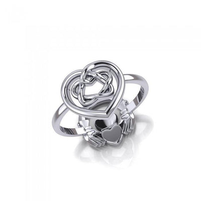 Claddagh and Celtic Heart Sterling Silver 2 in 1 Ring