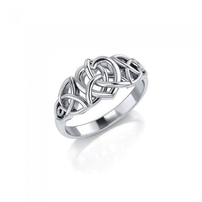 Triquetra and Heart Sterling Silver Ring