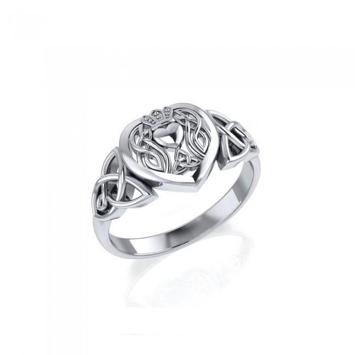 Celtic Claddagh Heart Sterling Silver Ring