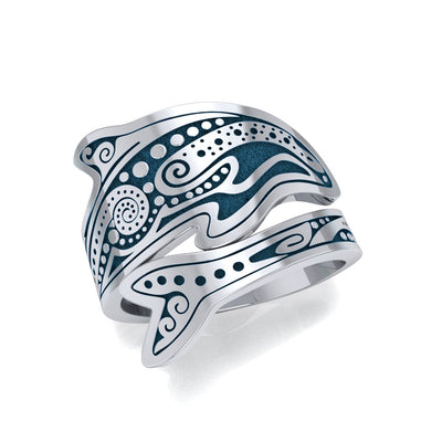 Aboriginal Dolphin  Sterling Silver Spoon Ring TRI1735