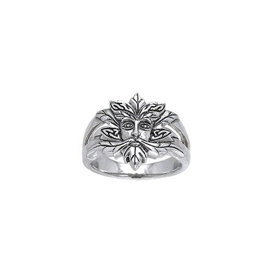 Green Man Silver Ring TRI174