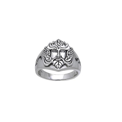 Green Man Silver Ring TRI175