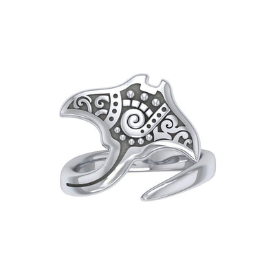 Silver Aboriginal Manta Ray Spoon Ring TRI1774
