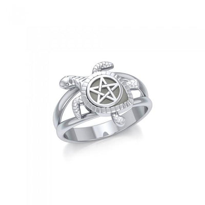 Sea Turtle with Pentacle Silver Ring TRI1783 - Peter Stone Wholesale