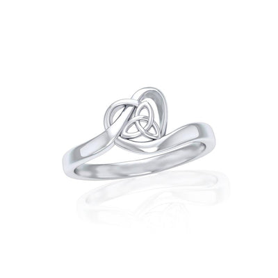 Heart with Celtic Trinity Knot Silve Ring TRI1785