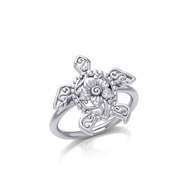 One meaningful step at a time Silver Sea Turtle Floral Filigree Ring TRI1791 Ring