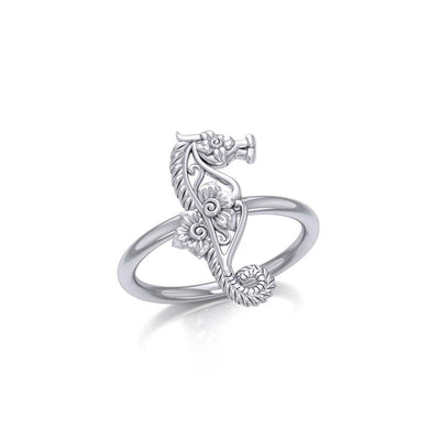 A touch of whimsical sea vibe Silver Seahorse Filigree Ring TRI1794 Ring