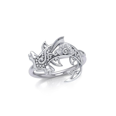 Swim through the endless journey Silver Hammerhead Shark Filigree Ring TRI1796