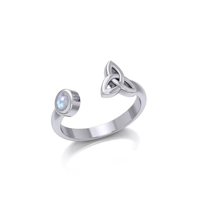 Small Silver Trinity Knot Ring with Gemstone TRI1799 Ring