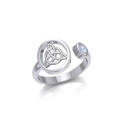 Small Silver Triquetra Ring with Gemstone TRI1800 Ring