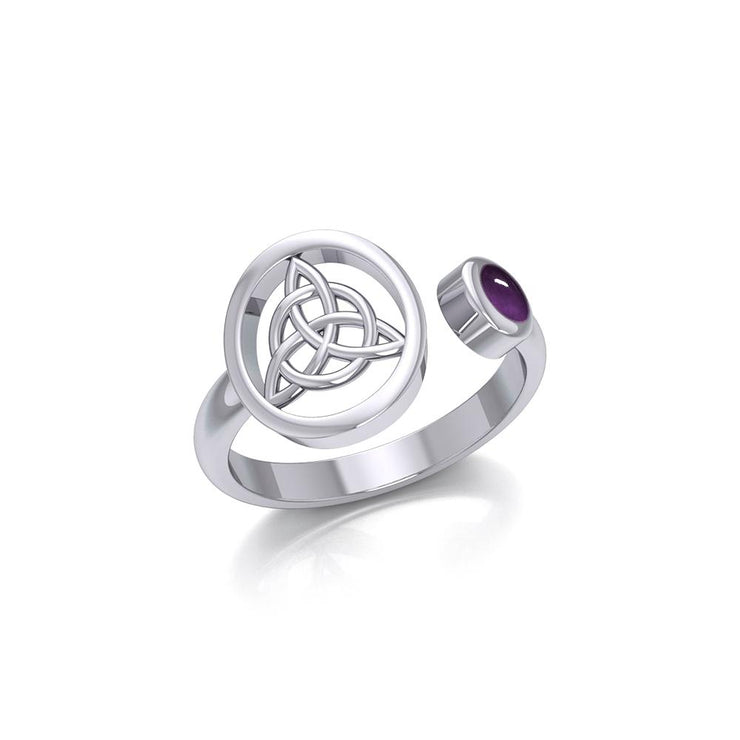 Small Silver Triquetra Ring with Gemstone TRI1800