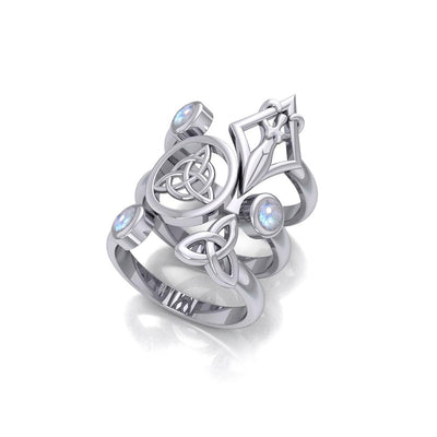 Silver Trinity Knot Triquetra and Goddess Stack Ring with Gemstone TRI1802