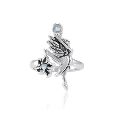 Dancing Fairy with Flower Silver Ring with Gemstone TRI1821