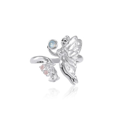 Flying Fairy with Flower Silver Ring with Gemstone TRI1825