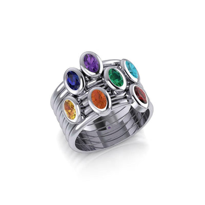 Oval Chakra Gemstone on Silver Stack Ring TRI1856