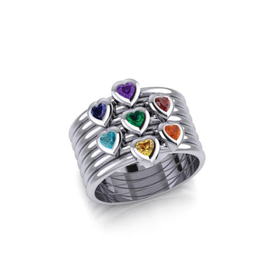 Heart Chakra Gemstone on Silver Stack Ring TRI1857 - Peter Stone Wholesale