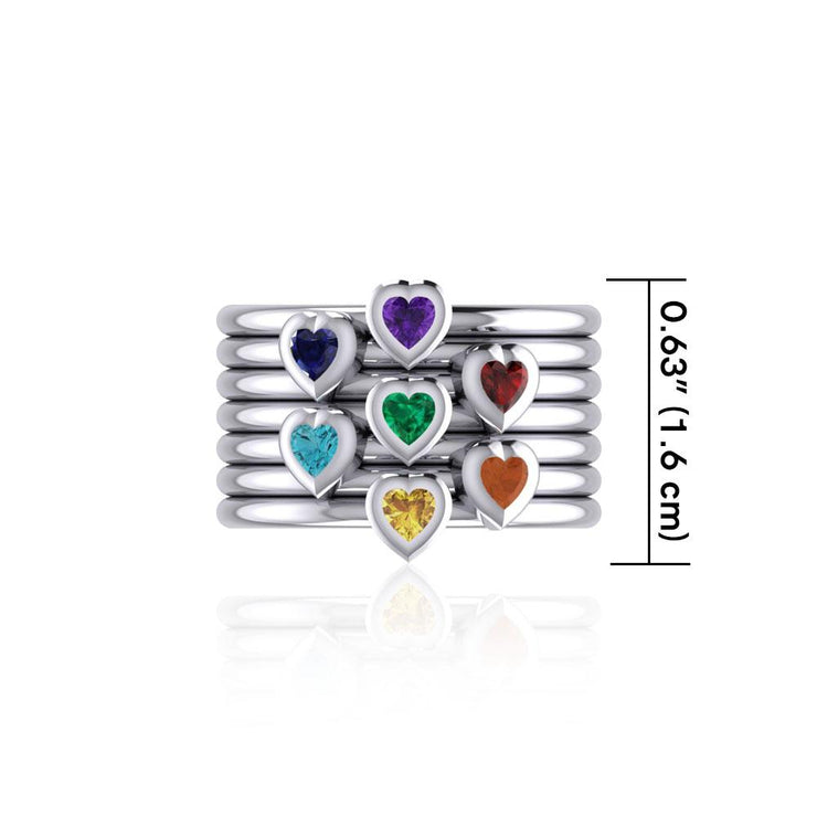 Heart Chakra Gemstone on Silver Stack Ring TRI1857