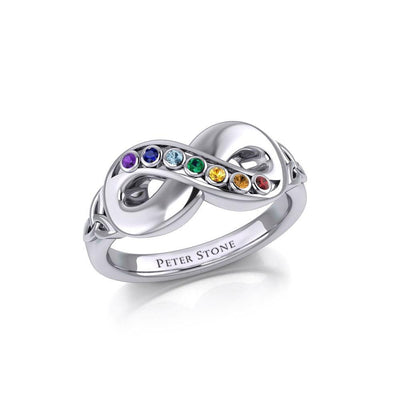 Silver Infinity Ring with Chakra Gemstones TRI1862 Ring