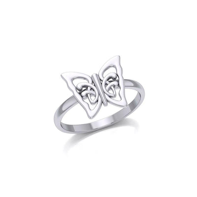 Small Butterfly Silver Ring TRI1866 - Peter Stone Wholesale