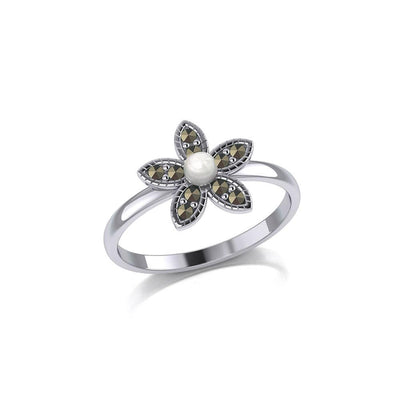 Flower with Pearl and Marcasite Silver Ring TRI1867