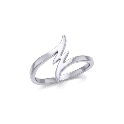 Lightning Bolt Small Silver Ring TRI1868 - Peter Stone Wholesale