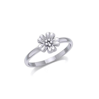 Small Flower Silver Ring TRI1869 - Peter Stone Wholesale