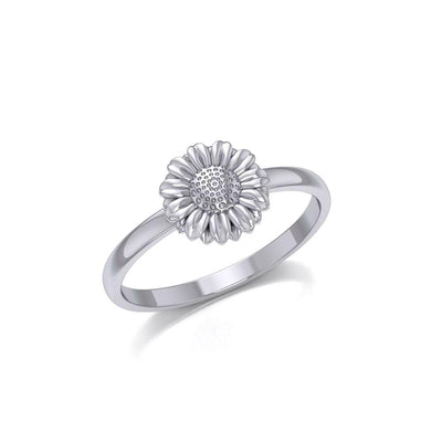 Small Daisy Flower Silver Ring TRI1870 - Peter Stone Wholesale