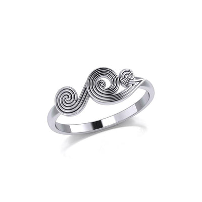 Spiral Wave Silver Ring TRI1872 - Peter Stone Wholesale