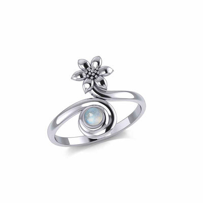 Flower with Gemstone Silver Ring TRI1874