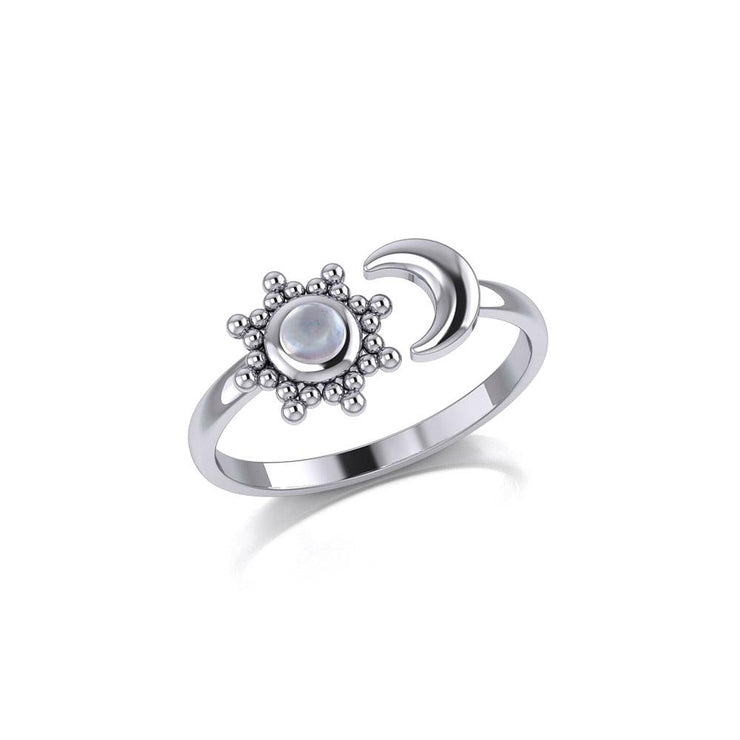 Gemstone Flower with Crescent Moon Silver Ring TRI1875 - Peter Stone Wholesale