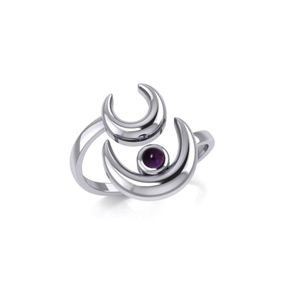 Double Crescent Moon Silver Wrap Ring with Gemstone TRI1892