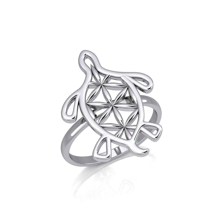 Turtle with Flower of Life Shell Silver Ring TRI1894