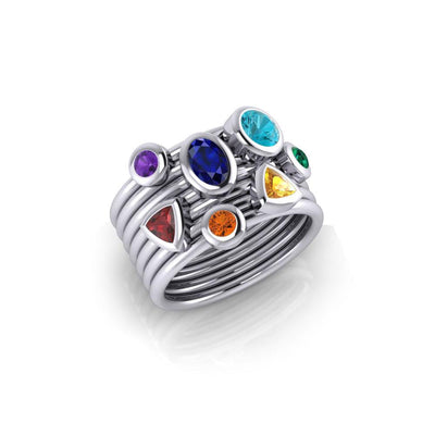 Oval Chakra Gemstone on Silver Stack Ring TRI1897 - Peter Stone Wholesale