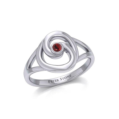 Organic Droplet Silver Contemporary Ring with Gemstone TRI1906