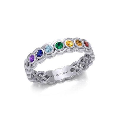Celtic Silver Band Ring with Chakra Gemstones TRI1918