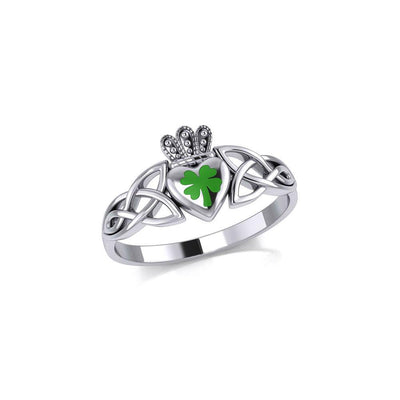 Celtic Claddagh with Lucky Four Leaf Clover Silver Ring with Enamel TRI1937