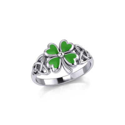 Celtic with Lucky Four Leaf Clover Silver Ring with Enamel TRI1938