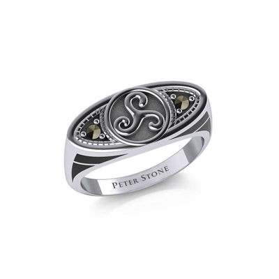 Celtic Triskele Silver Ring with Gemstones TRI1957