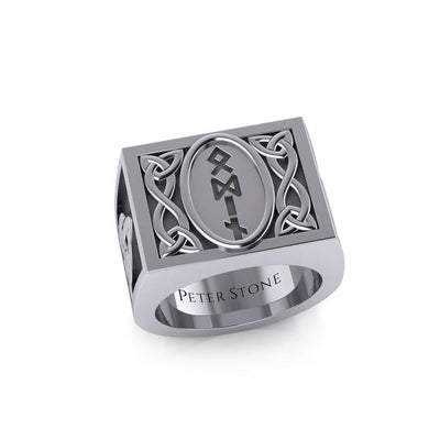 Viking God Odin Runic Silver Signet Men Ring with Triquetra Design TRI1973