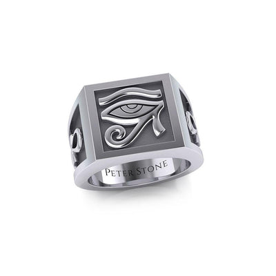 The Eye of Horus and Ankh Silver Signet Men Ring TRI1980 Ring
