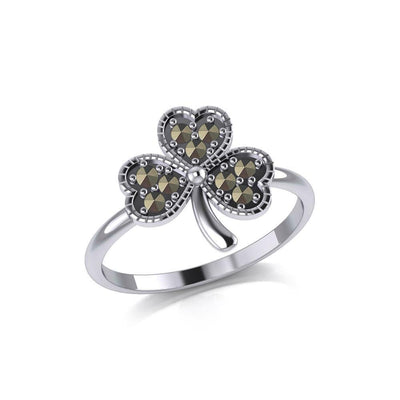 A young spring of luck and happiness Silver Celtic Shamrock Ring with Marcasite TRI2029