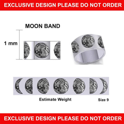 Moon Phases Silver Band Ring TRI2034