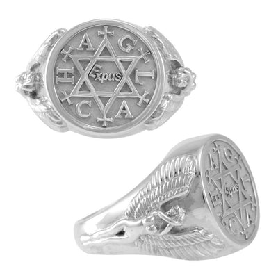 Angel Talisman Occult Large Sterling Silver Ring TRI2153 Ring