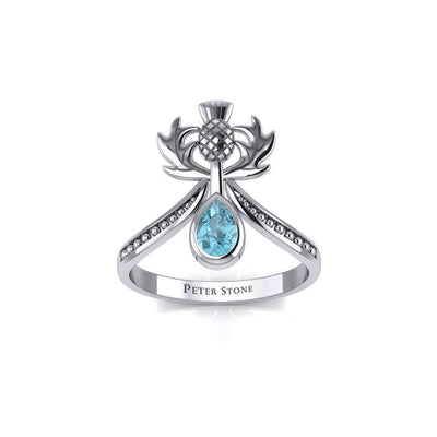 Thistle Silver Ring with Teardrop Gemstone TRI2156 Ring