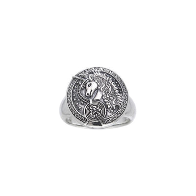 Engraved Celtic Unicorn Silver Ring TRI249